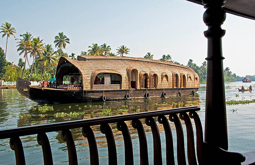 houseboat with two cabins for passengers, Kerala, India