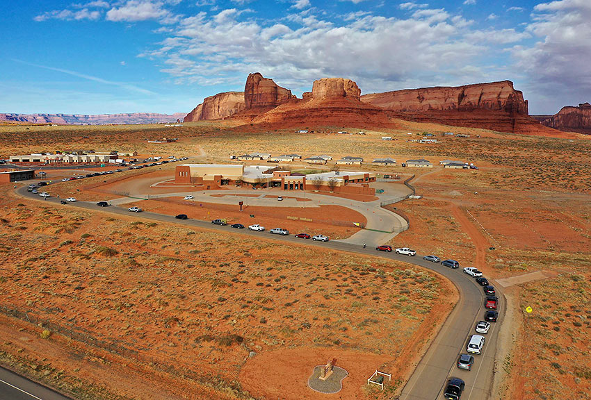 Covid-19 test line at Navajo Nation