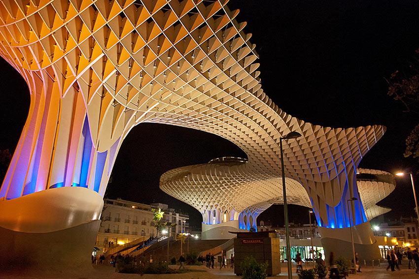 Parasol Metropol in Sevilla, Spain at night.