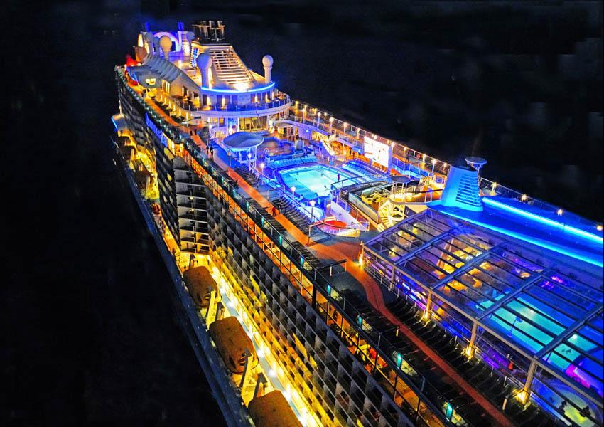 Royal Caribbean mega-cruise ship Quantum of the Seas at night