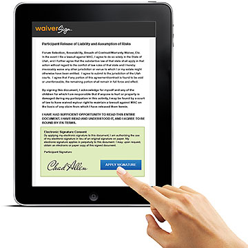WaiverSign on tablet