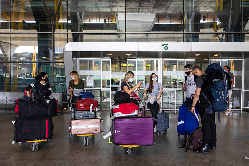 Arrivals at the Adolfo Suarez-Barajas airport in Madrid, Spain