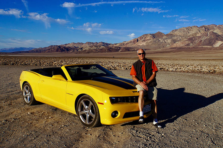 the author with a Bumblebee Camaro near Badwater Basin in Death Valley