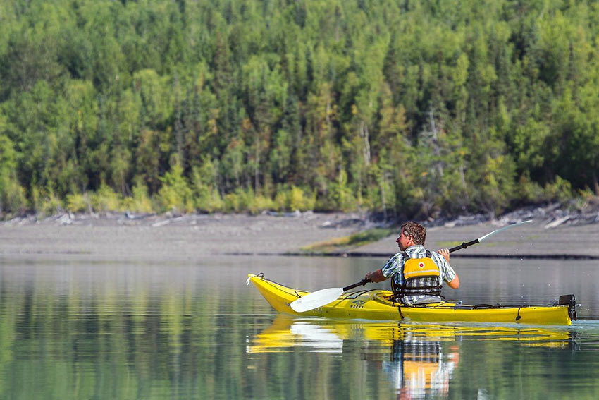 kayaking at Eklutna Lake, Alaska