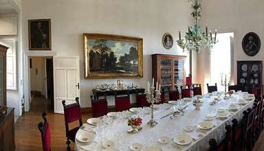 elegant dining room at the Palazzo Lanza Tomasi