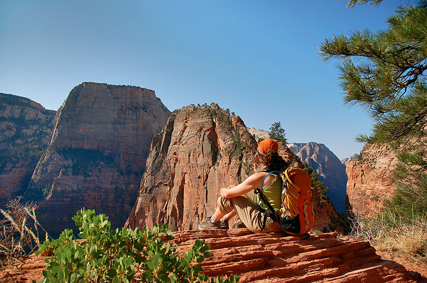 hiker at Great White Throne Angels Landing, Zion National Park