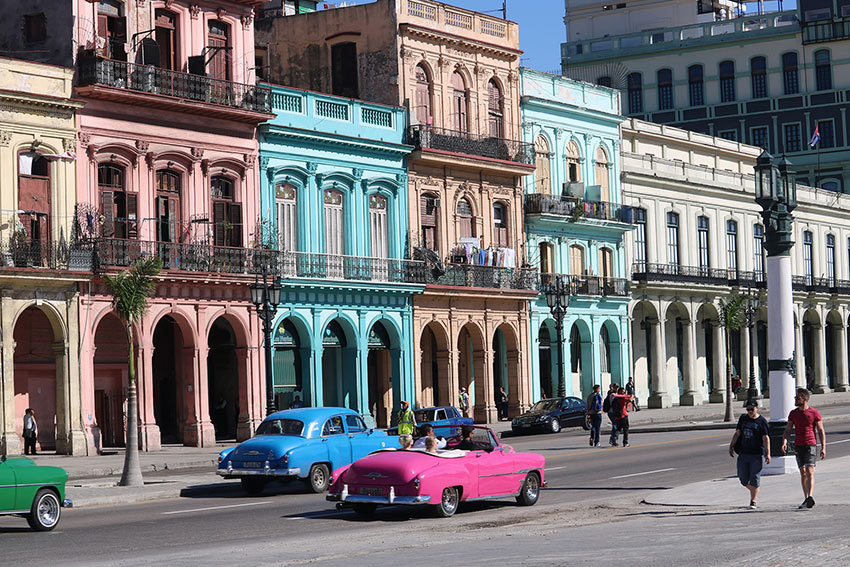 downtown Havana, Cuba showing vintage American cars