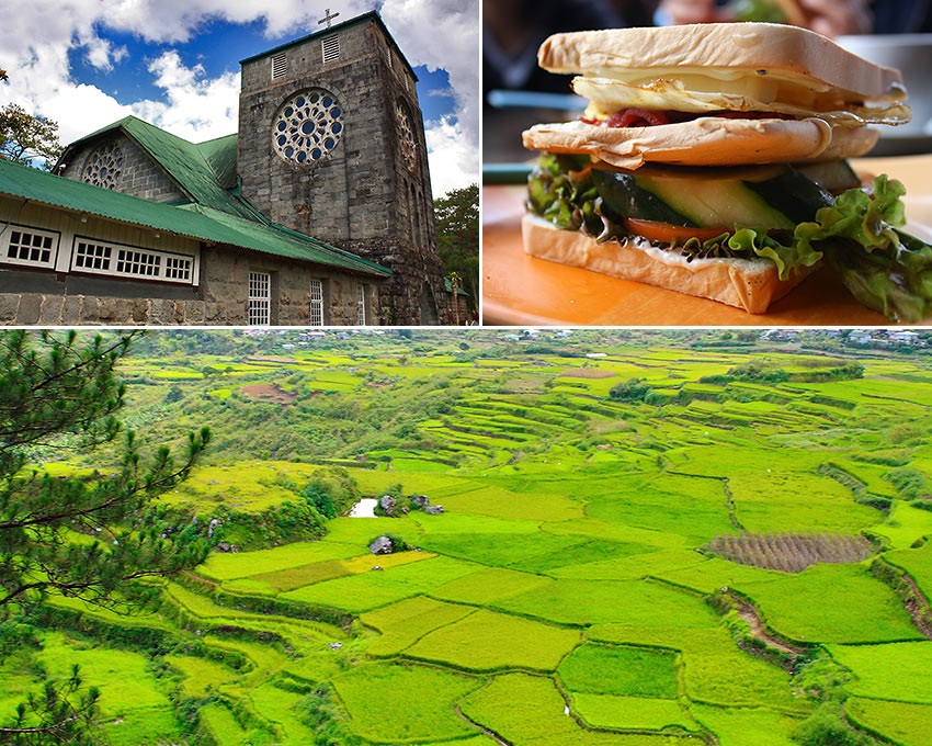 Episcopalian church at Echo Valley, breakfast sandwich, rice fields at Suyo, Sagada