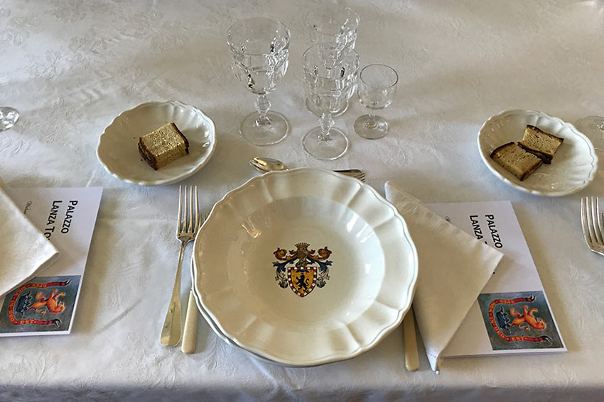 single place setting at the Palazzo Lanza Tomasi
