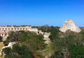 View of Uxmal ruins from the Great Pyramid