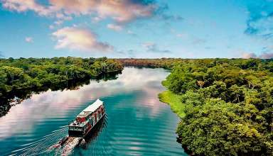 boat cruising the Amazon River