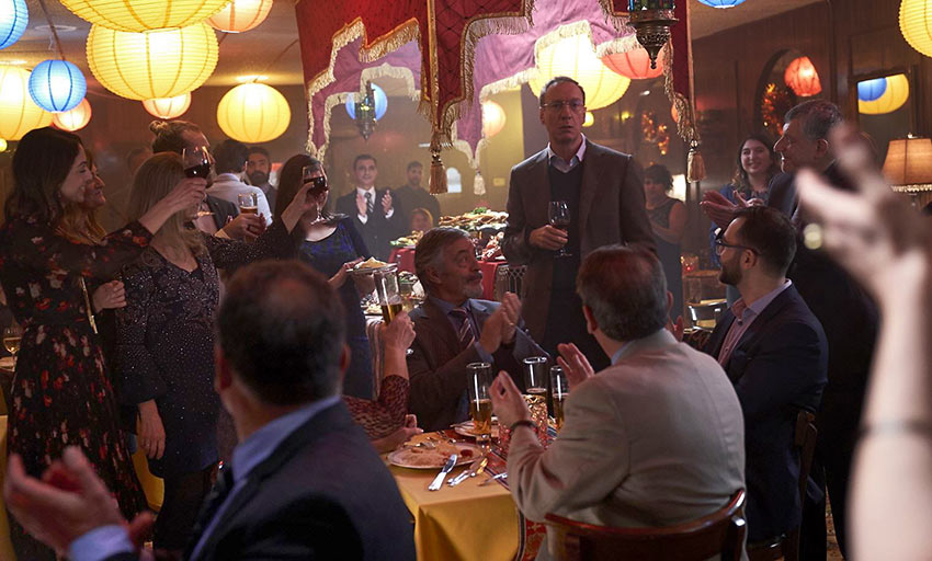 Jim (David Thewlis) joins in on a celebration in a Brazilian restaurant