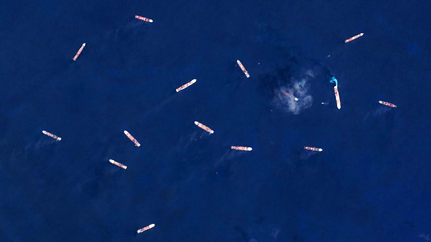 satellite view of cruise ships at Great Harbour Cay, Bahamas