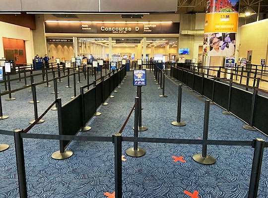 empty security lines at airport