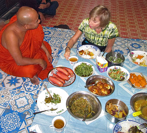 Fyllis with monk, Myanmar