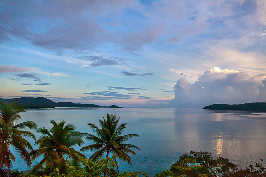 twilight at one of the islands in the Solomons