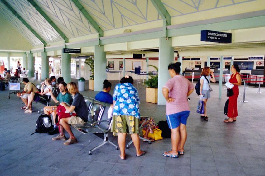 inside Aitutaki International Airport terminal