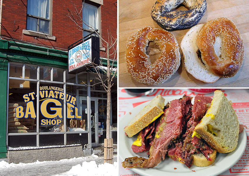 St.-Viateur Bagel's, Montreal bagels and Schwartz's smoked meat sandwich