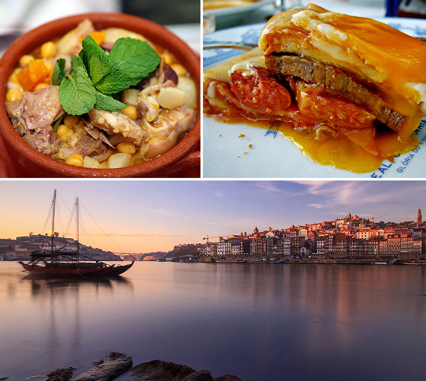 dishes from Porto, Portugal