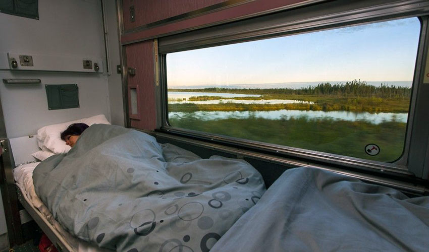 sleeping aboard a VIA Rail Canada train