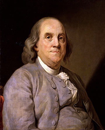 painting of Benjamin Franklin by Joseph-Siffred Duplessis