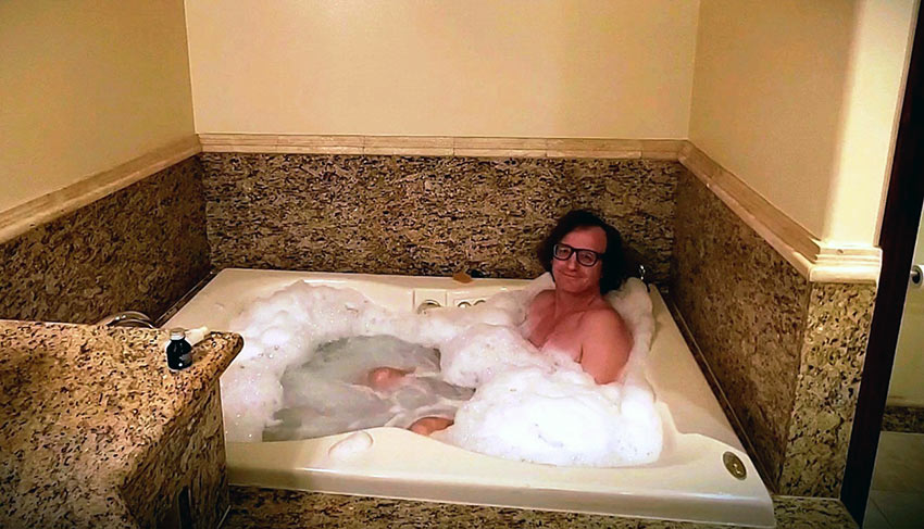 author at a jacuzzi in a South Coast Winery villa