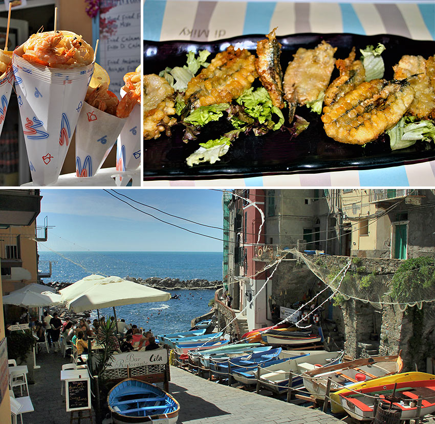 Cinque Terre seafood cone, fresh fish and the enchanting town at Vernazza