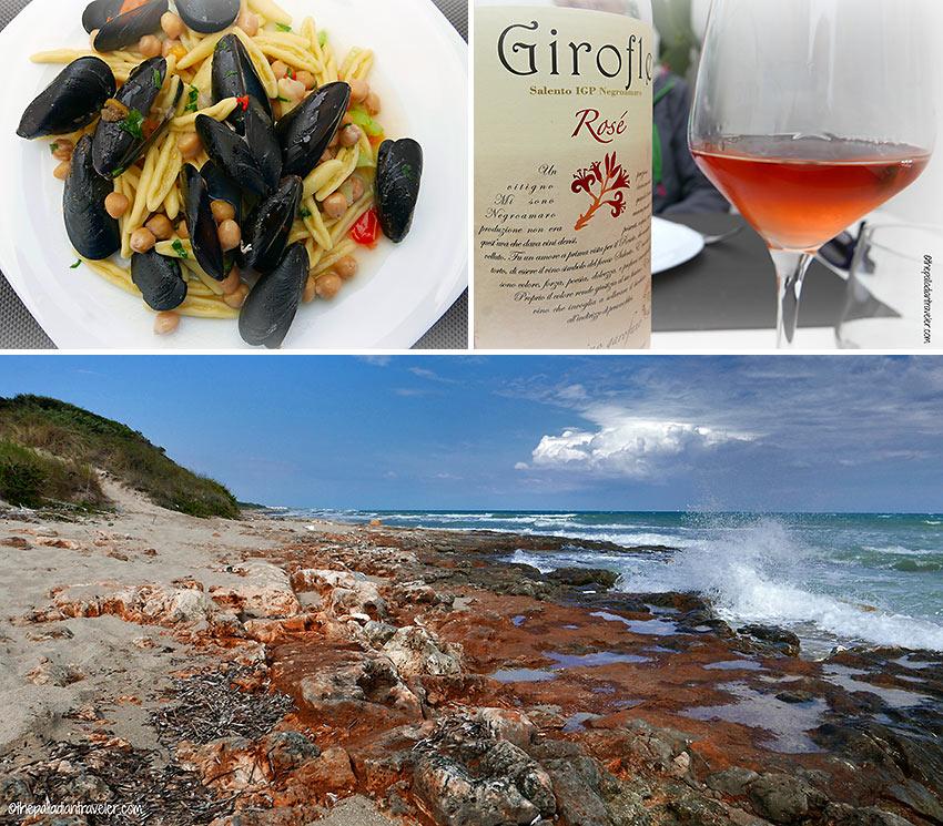 Salento Beach and dining