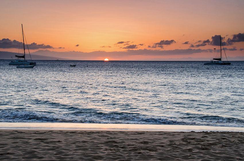 Ka'anapali Beach sunset view