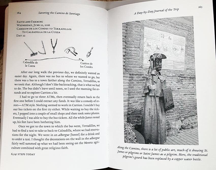 'Savoring the Camino de Santiago' 2-page spread