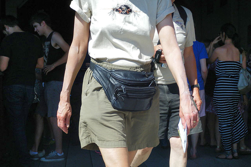 woman with fanny pack