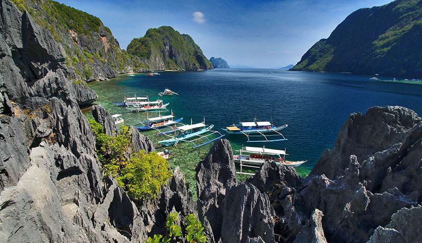 view of some of the islands at Bacuit Bay, El Nido, Palawan, from a vantage point on Matinloc Island