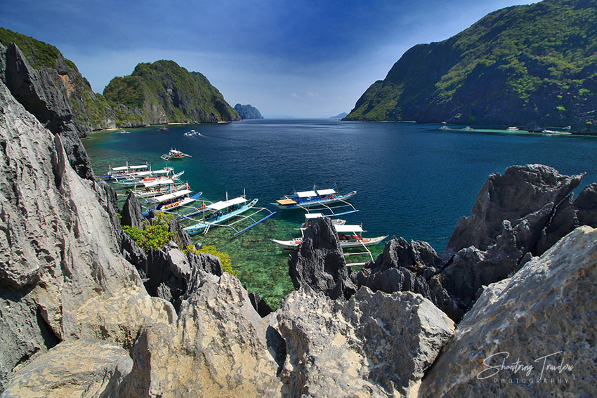 view of Bacuit Bay and islands from a view deck at Matinloc Island, El Nido