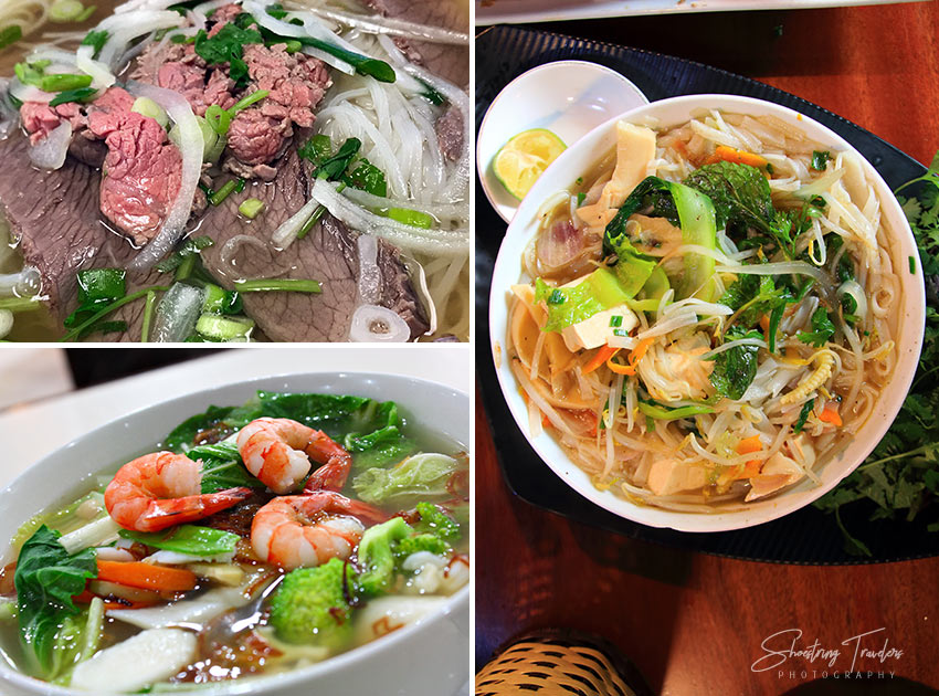 beef, seafood and vegan pho