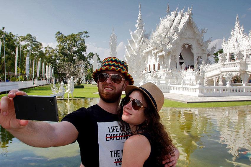 tourists taking a selfie