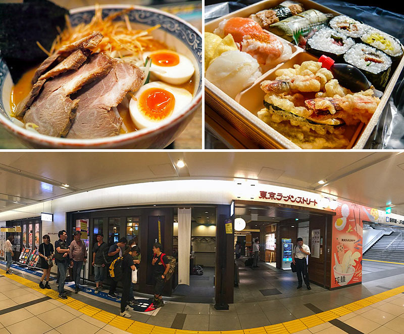 Tokyo train station and Japanese food