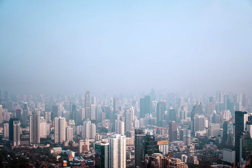 Bangkok skyline smog