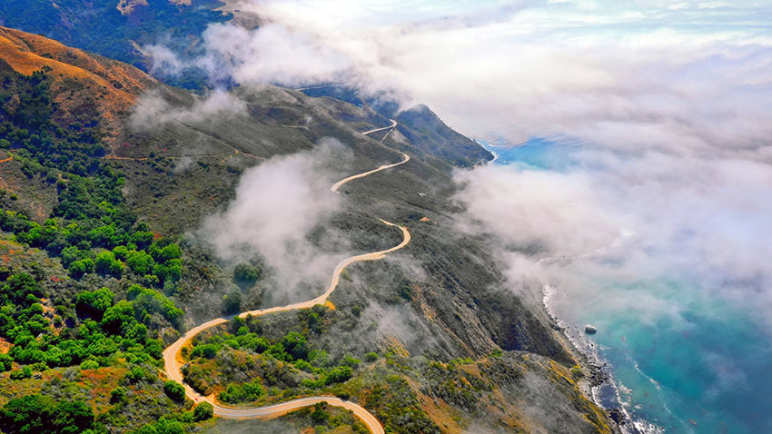 aerial view of the Pacific Coast Highway, Big Sur