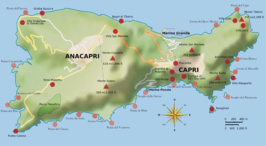 map of Capri Island