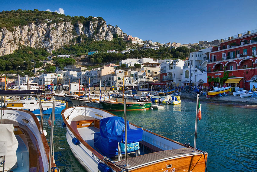 boats and yachts along Capri's coastline