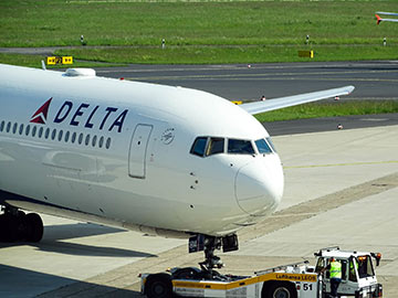 Delta airline plane on the ground