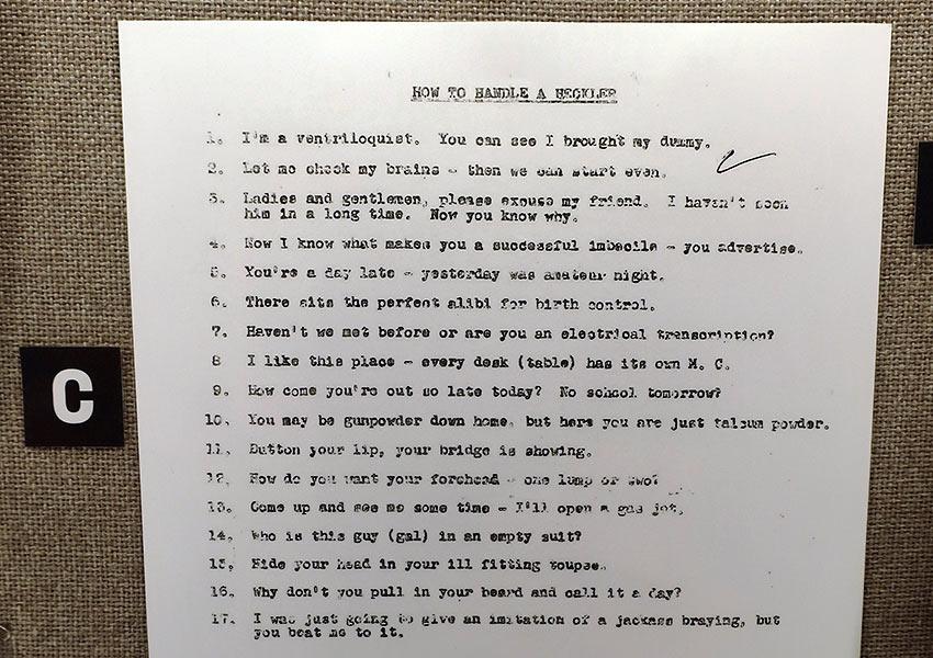 Joan Rivers' notes, National Comedy Center, Chautauqua, NY