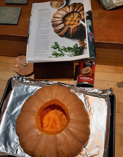 prepping a pumpkin