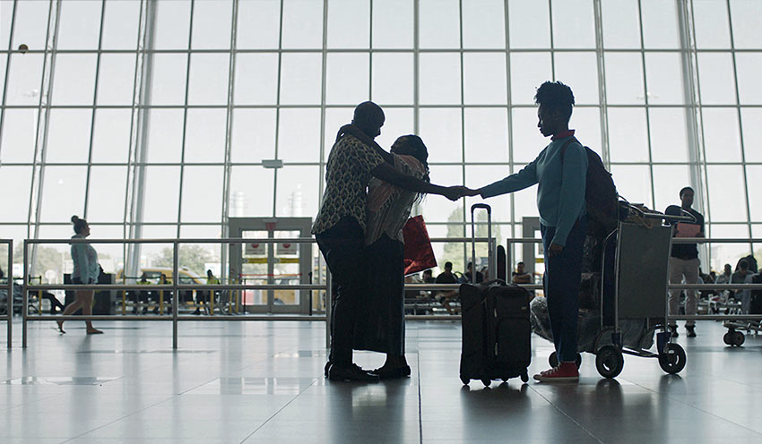 immigrant family reunites at the airport after 17 years: a scene from 'Farewell Amor'