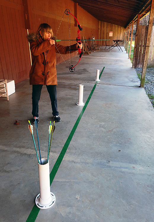 writer at archery range, Primland Resort