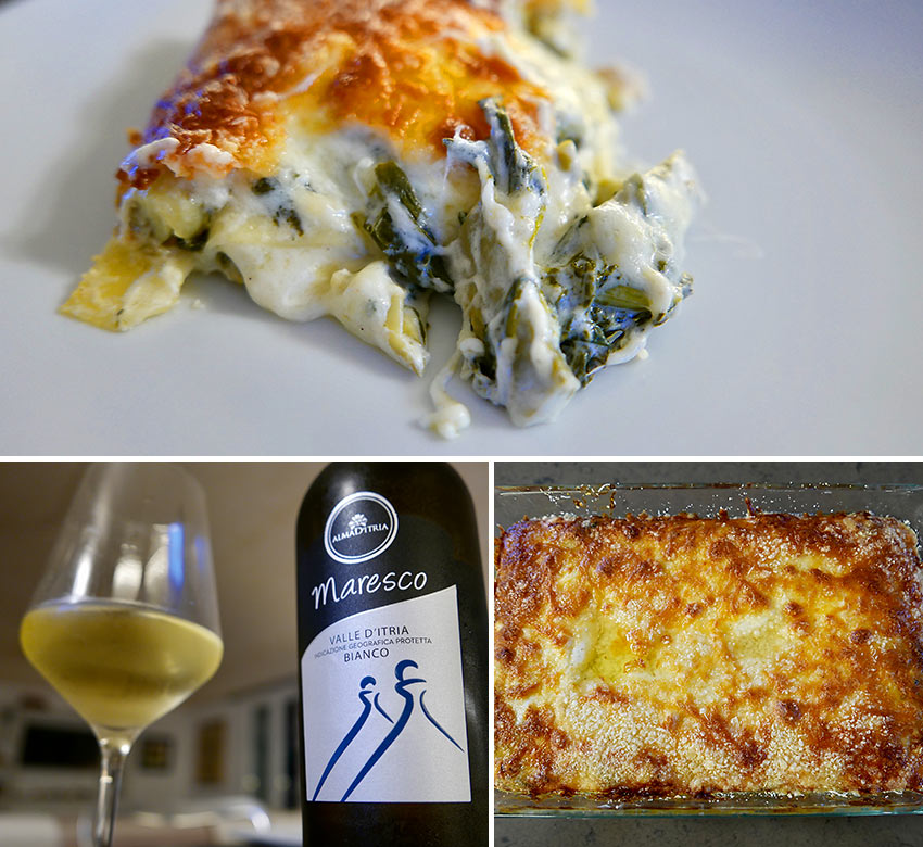 baked lasagne with artichokes and spinach and Maresco wine