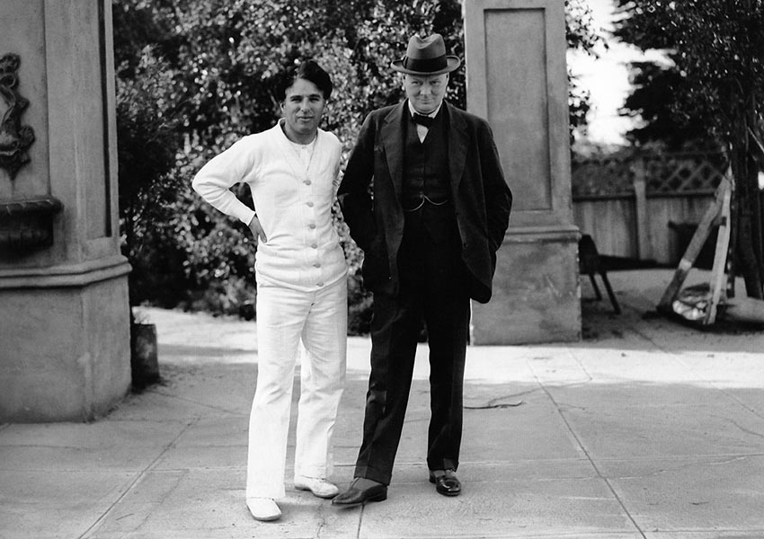 Charlie Chaplin and Winston Churchill