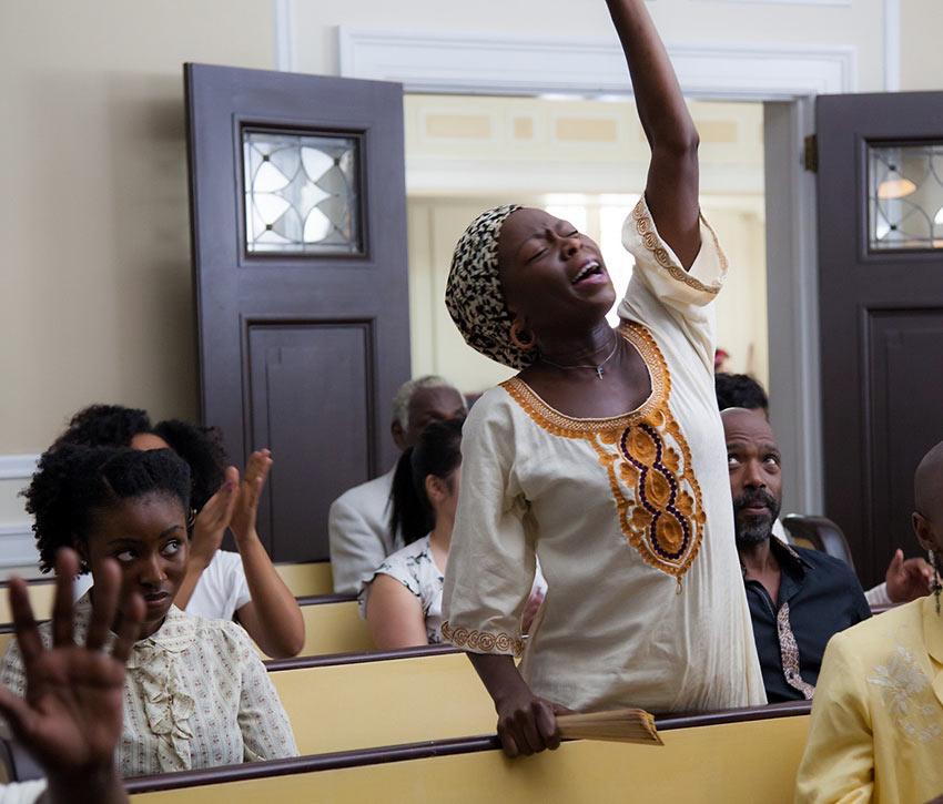 'Farewell Amor' church service scene