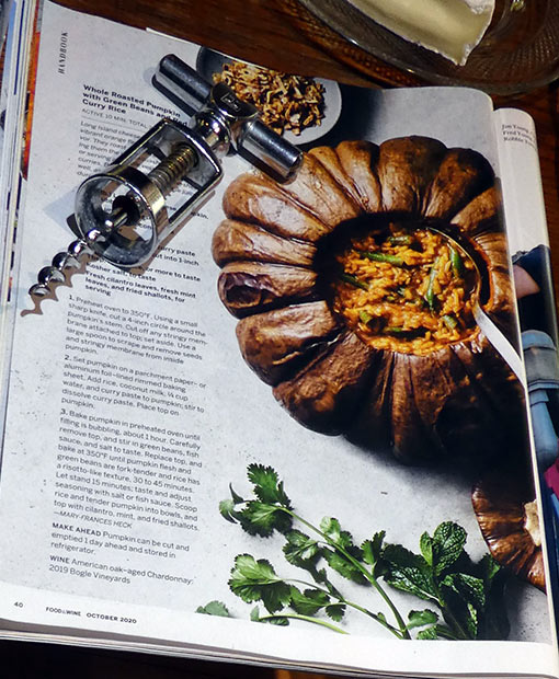 recipe for rice in a pumpkin at the October issue of Food and Wine magazine