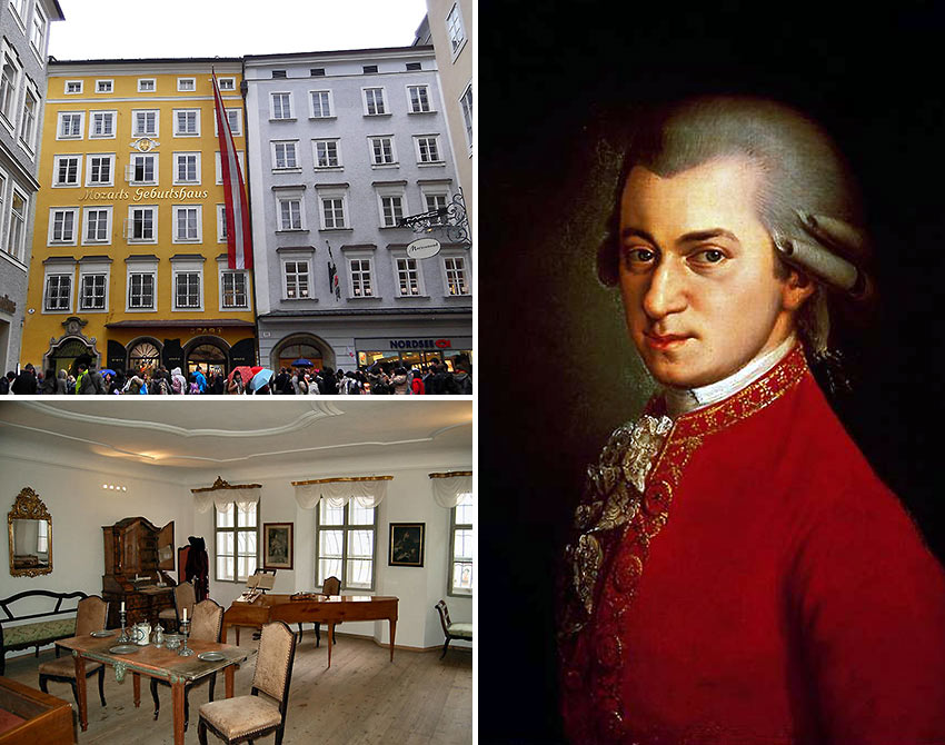 Mozart and his place of birth and childhood in Salzburg, Austria